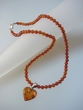 Honey Baltic Amber Round  Beads  Necklace with Heart
