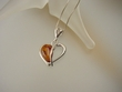 Modern Honey Baltic Amber Hearts Sterling Silver Necklace