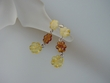 Multicolor Baltic Amber Flower & Sterling Silver Earrings