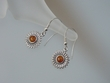 Honey Baltic Amber Sterling Silver Sunflower Earrings