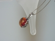 Honey Baltic Amber & Filigree Sterling Silver Pendant Nesklace