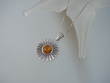 Honey Baltic Amber Sterling Silver Sunflower Pendant Necklace