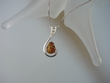 Honey Baltic Amber Sterling Silver Pendant Necklace with CZ