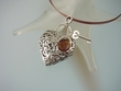 Romantic  Sterling  Silver  Heart  Double Sided  Pendant  Necklace