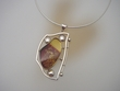 Burnt  Amber & Sterling Pendant Necklace