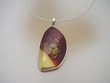 Burnt  Amber & Sterling Silver Pendant Necklace