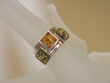 Green & Honey  Baltic Amber Sterling Silver Ring