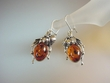 Honey Baltic Amber Leaf  Design Sterling Silver Earrings
