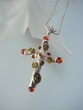 Unique  Baltic Amber  Sterling Silver  Cross Pendant  Necklace
