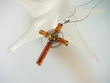 Honey  & Green Baltic  Amber  Sterling  Silver Cross