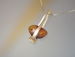 Modern Honey Baltic Amber Sterling Pendant  Necklace