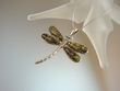 Green Baltic Amber Sterling Dragonfly Pendant Necklace