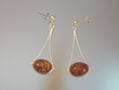 Honey Amber Oval Sterling Silver Earrings