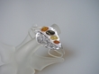 Multicolor  Amber Sterling Silver Cuff  Bracelet