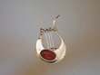 Honey Baltic Amber Sterling Silver Lyre Pin