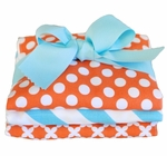 New Arrivals Orange Crush Burp Cloth Set