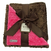 Meg Original Hot Pink & Brown Minky Blanket