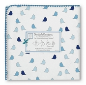 SwaddleDesigns Ultimate Receiving Blanket Blue Little Chickies w/True Blue Trim