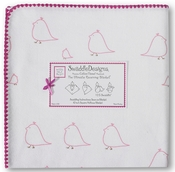 SwaddleDesigns - Ultimate Receiving Blanket - Pink Chickies with Very Berry Trim