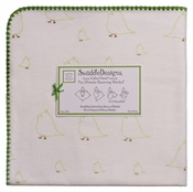 SwaddleDesigns - Ultimate Receiving Blanket - Kiwi Chickies with Pure Green Trim