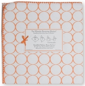 SwaddleDesigns - Ultimate Receiving Blanket - Mod Circles on White - Orange