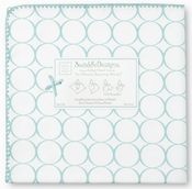 SwaddleDesigns - Ultimate Receiving Blanket - Mod Circles on White - SeaCrystal