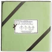 SwaddleDesigns - Ultimate Receiving Blanket - Solid Lime with Brown Trim