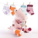 """Croc in Socks"" Baby Socks Gift Set (Pink)"