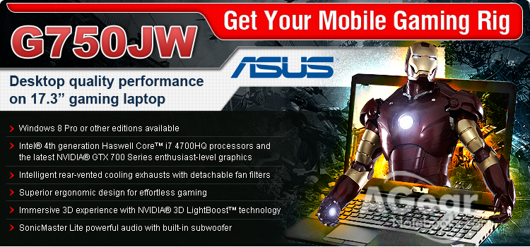 ASUS G750J Gaming Laptops with Cheaper Price for Limited Time Offer - AGearNotebooks.com provide High Quality Service Notebooks with Low Price and Professional Service