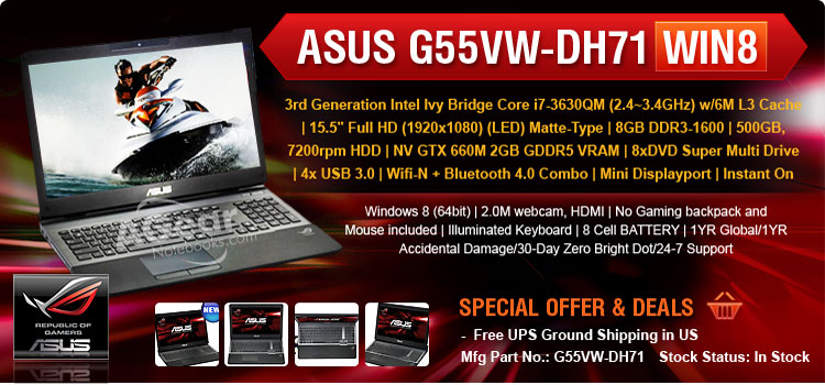 ASUS G55VW-DH71 Custom Gaming Laptop Intel Core i7 inside with Cheaper Price