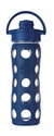 Midnight Blue Glass Beverage Bottle with Flip Top Cap 16oz