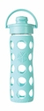 Turquoise Glass Beverage Bottle with Flip Top Cap 16oz