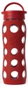 Red Glass Beverage Bottle 22 oz