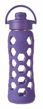 Royal Purple Glass Beverage Bottle with Flip Top Cap 22oz