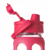 Raspberry Glass Beverage Bottle with Flip Top Cap 22oz