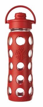 Red Glass Beverage Bottle with Flip Top Cap 22oz