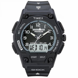 T5K202 Timex Combo Shock 30-Lap Men's Watch Black Dial Black Resin Strap T5K2029J