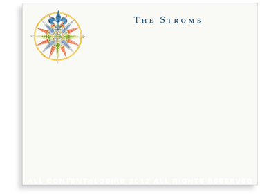Compass Rose - 16 Point Blue - Flat Note Cards
