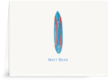 Bear Surfboard - Folded Note Cards