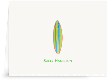 Green Alli Surfboard - Folded Note Cards