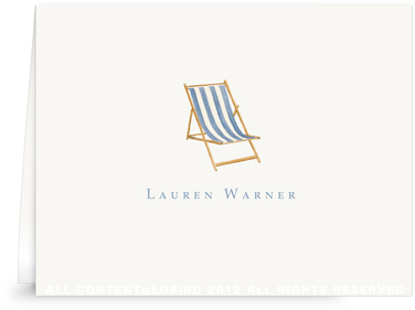 Beach Chair - Blue - Folded Note Cards