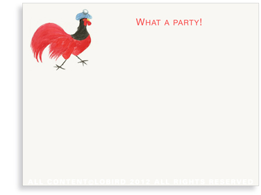 Rooster with Ice Bag - Flat Note Cards