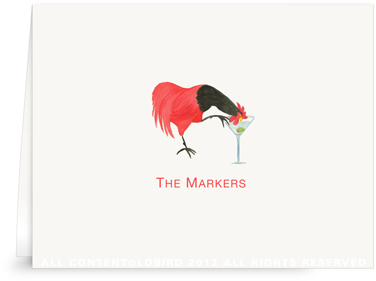 Rooster Drinking Martini - Folded Note Cards