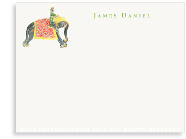 Prince Riding Elephant - Flat Note cards