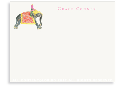 Princess Riding Elephant - Flat Note cards