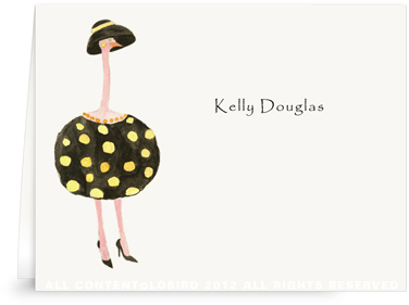 Ostrich-Dottie - Folded Note Cards