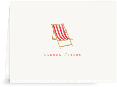 Beach Chair - Red - Folded Note Cards