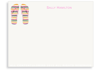 Striped Flip Flops - Note Cards