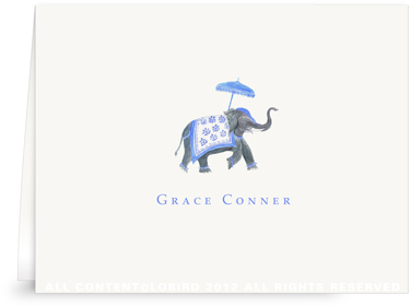 Festive Elephant - Blue/White - Folded Note Cards