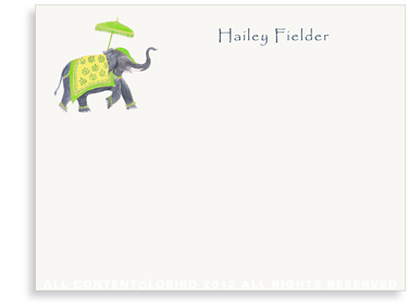 Festive Elephant - Green/Yellow - Flat Note Cards